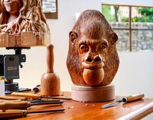 Orangutan Head Wood Sculpture Carved By Hand