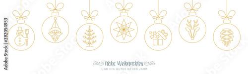 Fototapeta Weihnachstbanner - frohe Weihnachten mit weihnachtlichen goldenen Symbolen - deu
