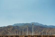 Landscape Image Of Palm Springs Windmills Landmark Against Blue Skies