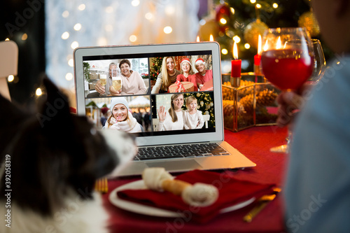 Fototapeta Mature man celebrating Christmas with his dog sitting at served holiday  table with laptop