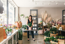 Inside A Stylish Flower Shop W...