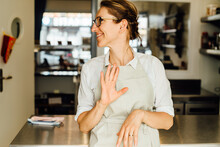 Female Chef Making Gestures Wh...