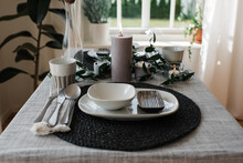 Dinner Table Set Up For A Romantic Meal For Two