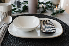 Dinner Plates On A Romantic Ta...