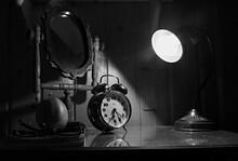 Old Vintage Alarm Clock On The...