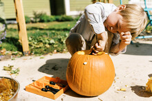 Child Carving Out Pumpkins For...