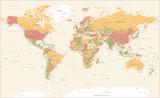 World Map Vintage Political -  Detailed Illustration - Layers