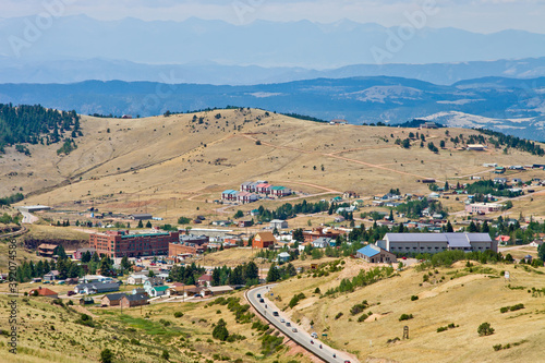 Fotografia Cripple Creek Aerial - National Historic District view from the air in small Gam