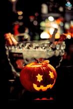 A Halloween Pumpkin Head With ...