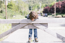 Kid Hanging Off Wooden Gate At...