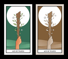 Aces Of Tarot Cards. Wands. Ha...