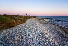 Scenic Rocky Shoreline In New England.