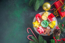 Christmas Funny Colorful Pancakes In Form Of Xmas Traditional Symbols - Snowman, Gingerbread Man, Xmas Tree, Star, Candy Cane, Christmas Boot And Christmas Wreath. Idea For Kids Christmas Breakfast