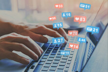 Popularity On Social Media, Like Icons, Influencer Star On Social Network, Hands Typing On Keyboard As Background