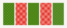 Collection Of Christmas Knitted Seamless Patterns With Snowflakes, Firs, Dots. Norwegian Style Sweater. Wool Pullower Texture. Vector Illustration. Set Of Holiday Backgrounds In Red, Green Colors.