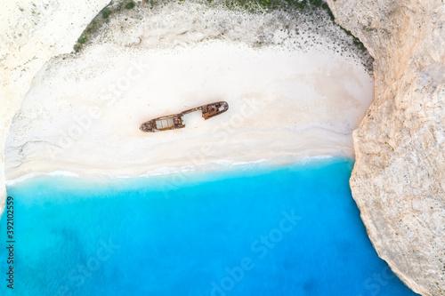 Tablou Canvas Zakynthos island Greece shipwreck Navagio beach travel vacation background drone