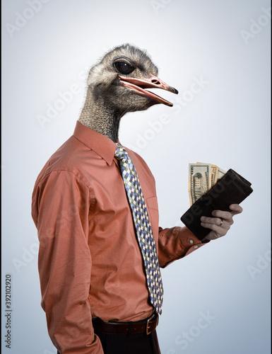 Canvas Print Homme d'affaires à tête d'oiseau