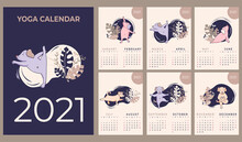 Calendar 2021. Yearly Calendar. Concept Design - Yoga For Pets. Set Of Templates For 12 Months 2021 With Cute Dogs Meditating, Doing Yoga And Fitness. Vector. 6 Pages Of 2 Months A4 Size And Cover