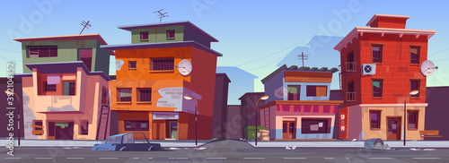 Poor dirty houses in ghetto area Canvas