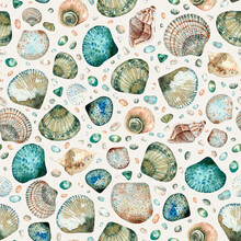 Watercolor Seamless Seashell Pattern With Various Mediterranean Seashells, Pebbles And Glass On A Beige Background.