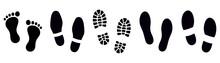 Footprint. Different Human Footprints Set. Vector Illustration