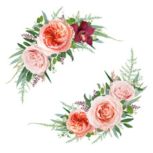 Elegant Vector Floral Bouquet Set. Pale Coral Juliette Rose, Dusty Pink Flowers, White Astrantia, Burgundy Red Orchid, Eucalyptus Greenery Branches, Seeds, Leaves, Tender Fern Vine Vector Illustration