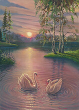 Sunset Oil Painting Landscape With White Swans In Lake Against Summer Forest With Water Reflections And Circles, Morning Sunrise Drawing Art On Canvas With Beautiful Nature