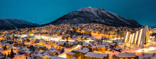 Tromso, Norway At Night During...
