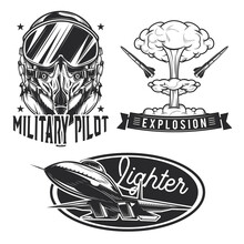 Set Of Aviation Emblems, Label...