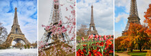 Collage Of Four Photos Of The Eiffel Tower During Different Seasons