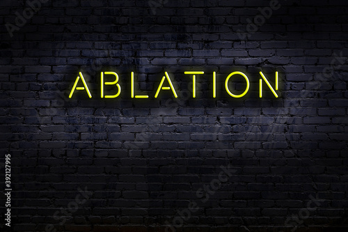 Photo Neon sign. Word ablation against brick wall. Night view