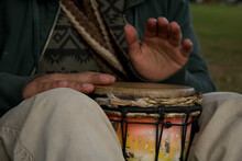 Closeup Of A Musician Man Playing The Goblet Drum Musical Instrument