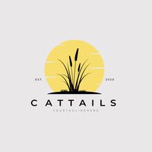 Vintage Cattails Logo Vector Illustration Design