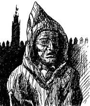 Moroccan Man In Traditional Clothes In The Old Medina Of Meknes. An Impressive City In Spanish-Moorish Style In Northern Morocco. Ink Drawing.
