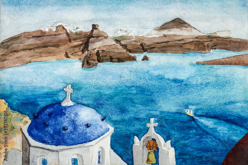 Typical blue dome and bell from orthodox church at the Santorini island Fototapet