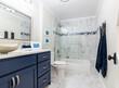 Navy, white and grey modern bathroom