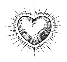 Heart With Rays. Vector Black Vintage Engraving Illustration Isolated On A White Background. For Web, Poster, Info Graphic.