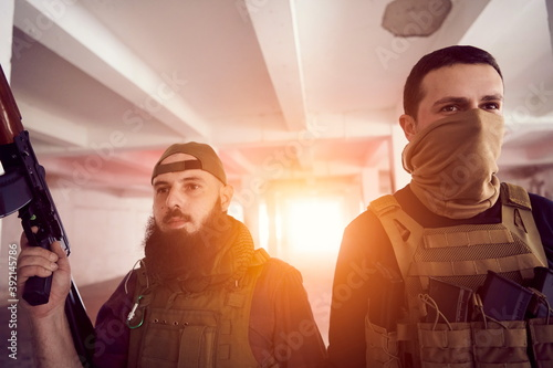 soldier squad team portrait in urban environment Wallpaper Mural