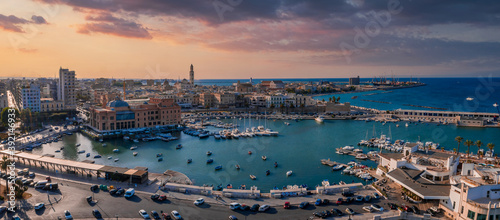 Aerial view of Bari old town Poster Mural XXL