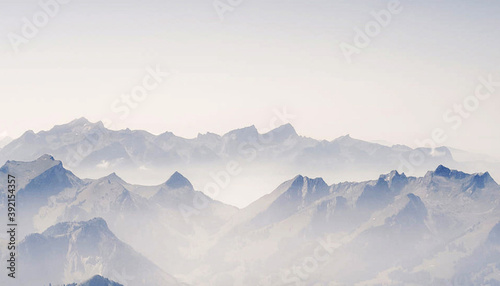 Fotografering Shot of beautiful pictures of Switzerland on a cloudy day in winter