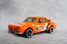 POZNAN, POLAND - Oct 31, 2020: Mattel Hot Wheels Ford Escort Sport Car