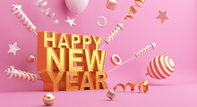 Happy New Year 2021 Text Concept With Firework Rocket, Balloon, Ribbon, Confetti, 3D Rendering Illustration