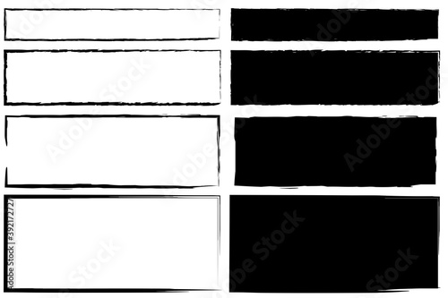 Fotomural Vintage abstract banner with black rectangles on white background