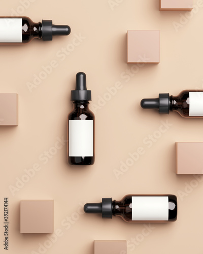 Obraz Minimal abstract mockup background for product presentation. Cosmetic bottle with beige cube on beige background. 3d rendering illustration. Clipping path of each element included. - fototapety do salonu