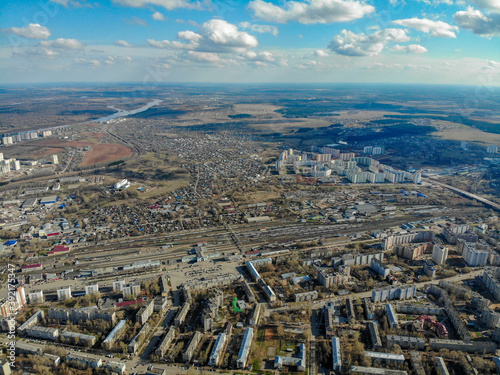Fotomural View from a great height to the city of Kirov in spring
