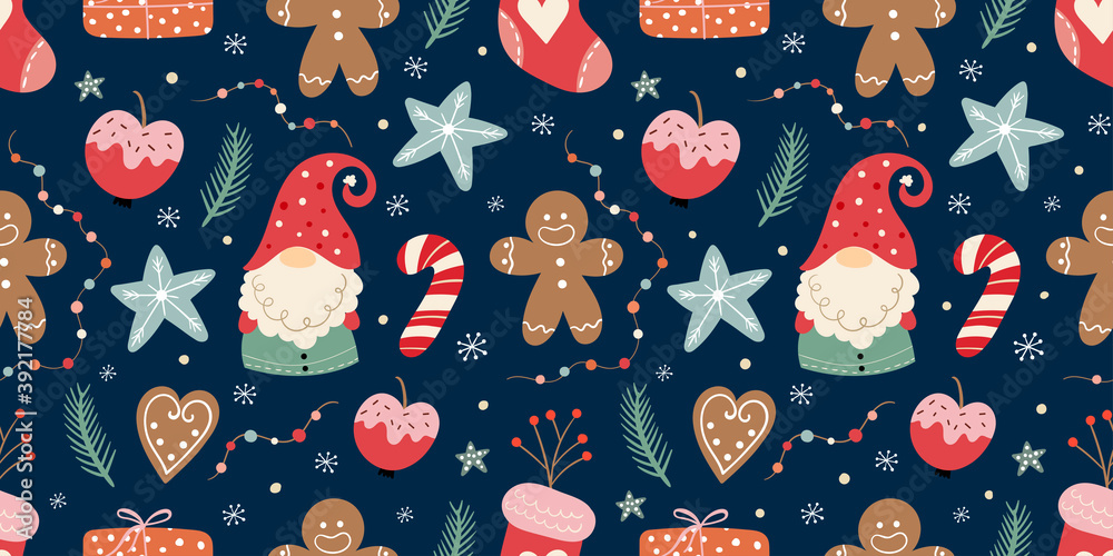 Fototapeta Christmas seamless pattern with gnomes, gingerbread, candies and decoration, winter seasonal design