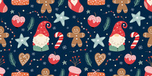 Christmas Seamless Pattern With Gnomes, Gingerbread, Candies And Decoration, Winter Seasonal Design