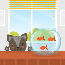 Cute Funny Cat Looking At Fishes In Aquarium Cartoon Vector Illustration