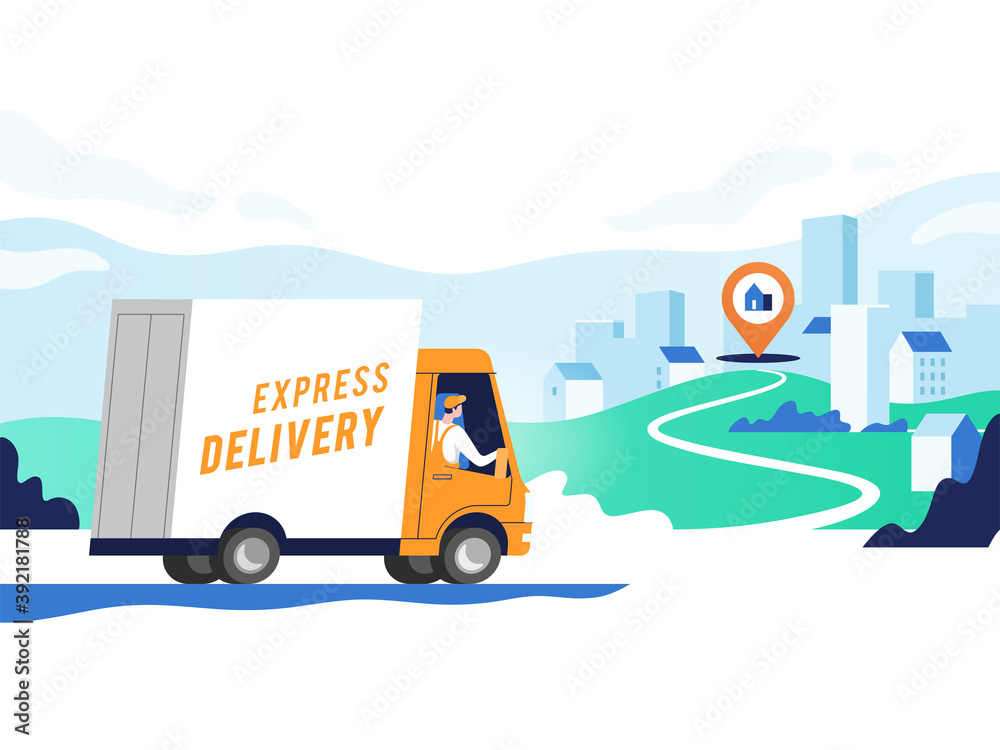 Fototapeta Express delivery services and logistics. Truck with man is carrying parcels on points. Concept online map, tracking, service. Vector illustration.