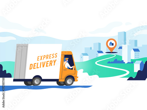 Fototapeta Express delivery services and logistics. Truck with man is carrying parcels on points. Concept online map, tracking, service. Vector illustration. obraz